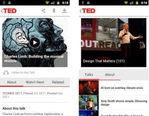 TED Officiell app Android skärmdumpar
